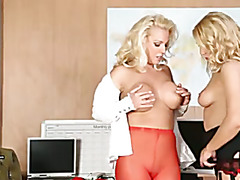 Lesbian office girls lick pussy and cum with sex toy on desk