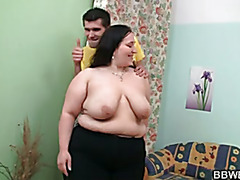 Cute plumper swallows his big meat