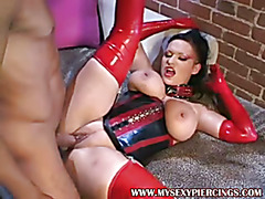 Busty pierced nipple and pussy Domina in latex outfit sex
