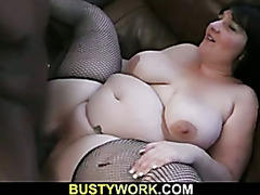 Big black cock is filling her fat hole