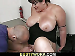 Busty hottie gets doggystyled at interview