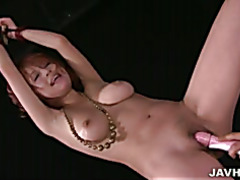 Sara in bondage has her big tits and wet pussy toyed