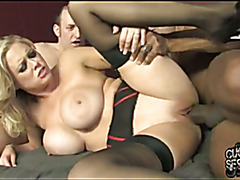 Hot wife Katie gets creampie from black while cuckold watch
