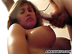 Busty French girlfriend sucks and fucks with facial