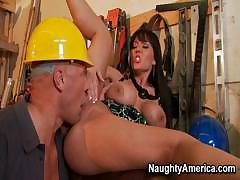 Claire Dames Gets Hammered By Strong Builder