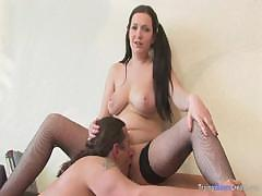 Chubby Brunette Fucked On Armchair
