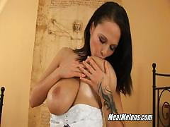 Busty Brunette Dominno Serves Guy In Hotel Room
