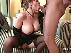CFNM French mature with huge boobs gets hard banged