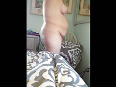 hairy pussy,belly,tits naked as she fixes her hair