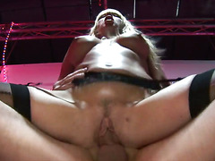 Naughty pornstar receives facial cumshot aftert a hardcore drilling