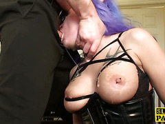 British sub facefucked and ass fingered