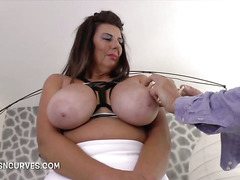 Hot Cougar enjoying extreme boob bondage