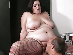Women in fishnets gets fucked at work
