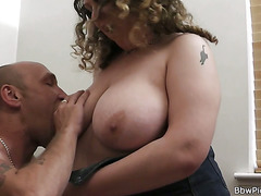 Chubby lady is picked up and fucked
