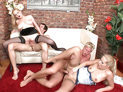 Blonde in a foursome affair gets a severe pumping against her walls