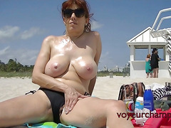 Exhibitionist Wife Lana BIG LIPS Exposed On Public Beach!