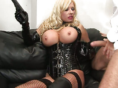 Alluring dame sits on a huge rod having it sink deep in her cunt