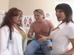 Slutty doctor and nurse teaching asshole fucking