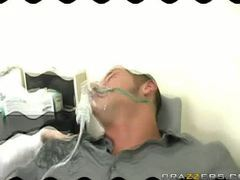 Tanya James puts her patient to sleep and wakes him when his dick is in her mouth