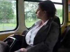 big boobs milf in the tram she has fun well others watch her