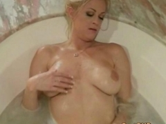 Two hot lesbian girls with massive boobs licked and screwed sweet pussies in jacuzzi