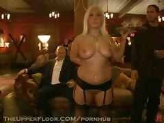 Big-breasted blonde in cute leather underwear suck big dicks