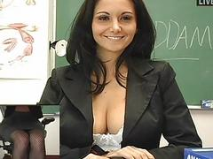 Classy new teacher masturbating in sexy black lingerie