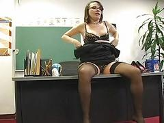Foxy teacher masturbates in very sexy black lingerie