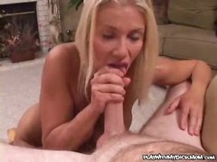 Blowjob and a big facial for busty blonde