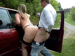 Busty amateur fucked by the car