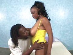 Busty ebony slut takes big black cock