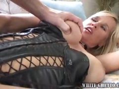 Chick in black leather wants cum on tits
