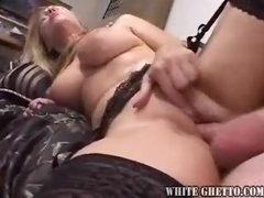 The guys take turns fucking her milf pussy