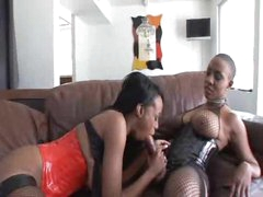 Two black lesbians having strapon sex