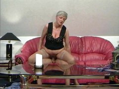 Granny in tan stockings taking cock