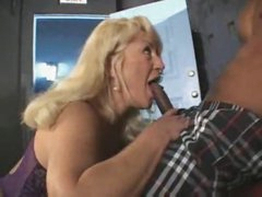 Black guy gets head from mature blonde