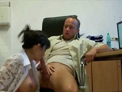 Busty secretary in stockings fucked