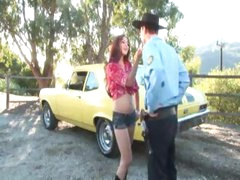 Girl stopped by police officer fucked outdoors
