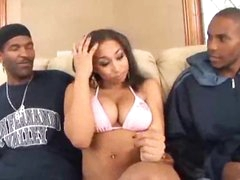 Black chick gets into threesome with guys