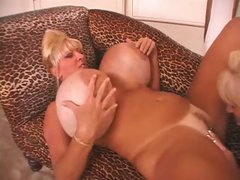 Humongous tits on blonde pussy eaters