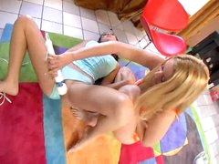 Blonde and redhead have lesbian fun