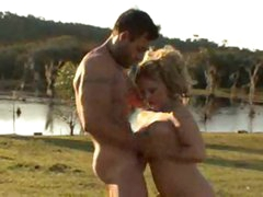 Cowboy fucks a big ass blonde in the country