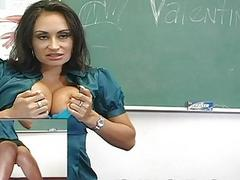 Classy latina teacher strips and masturbates in the class